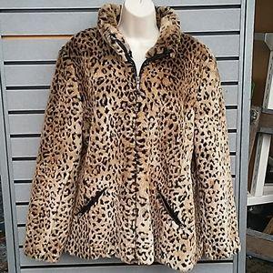 Leopard print winter coat, size XL 16/18